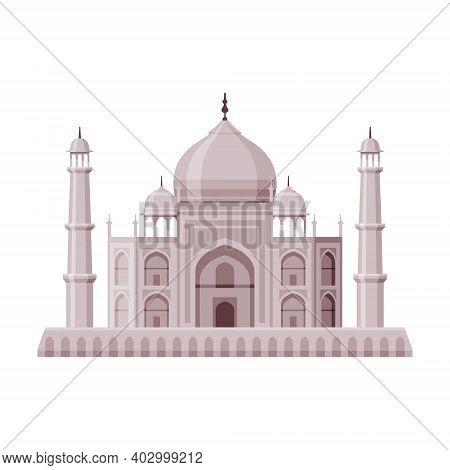 Taj Mahal As Famous City Landmark And Travel And Tourism Symbol Vector Illustration