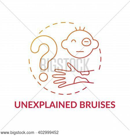 Unexplained Bruises Red Gradient Concept Icon. Sign Of Physical Violence At Home. Abuse And Assault