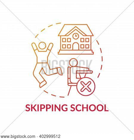 Skipping School Red Gradient Concept Icon. Kids Truancy. Trouble With Education. Non Attendance To C