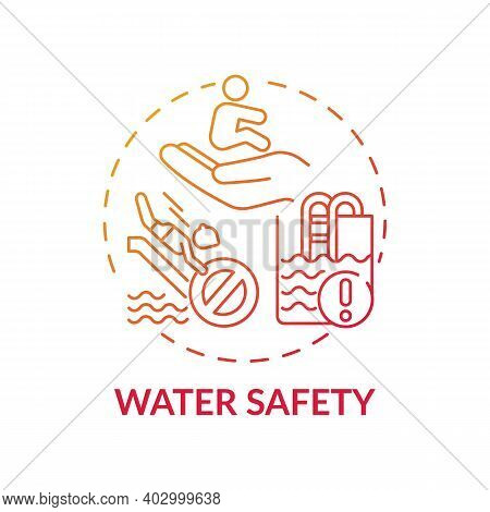 Water Safety Red Gradient Concept Icon. Drowning Prevention. Children Rescue. Caution For Danger. Ch