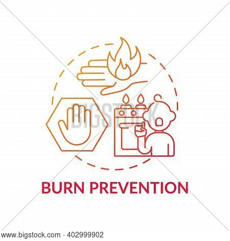 Burn Prevention Red Gradient Concept Icon. Kid Protection From Harm. Fire Hazard Precaution For Chil
