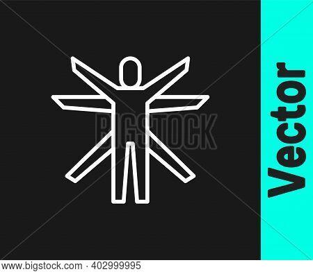 White Line Vitruvian Man By Leonardo Da Vinci Icon Isolated On Black Background. Human Anatomy. Vect