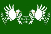 Doves of peace Happy New Year text poster
