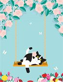 A black and white cat is resting on a swing amongst flowers poster