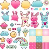 Set of decorative design elements with kawaii doodles. poster