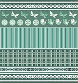 Scrapbook template with birds in shades of green. poster