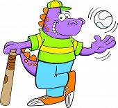 Cartoon illustration of a dinosaur with a bat and baseball. poster