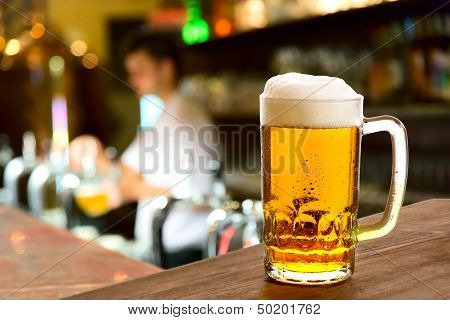 Beer Glass In A Restaurant