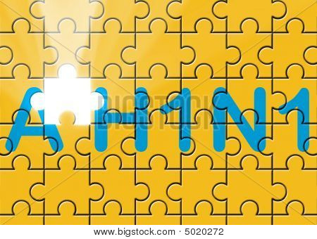 puzzle with missing piece swine AH1N1 text flu metaphor poster