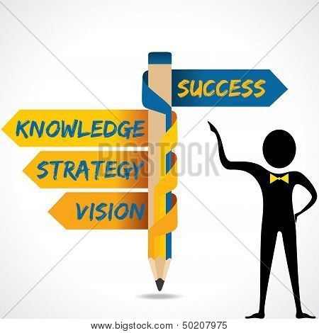 Man pointing to Business texts and success arrow in opposite of pencil