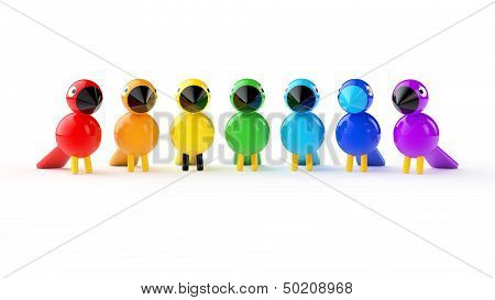 Rainbow Colored Birds  On White Background