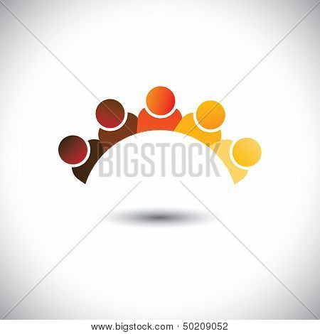 Abstract Colorful Office Staff Or Employees Sign(icon)- Vector Graphic