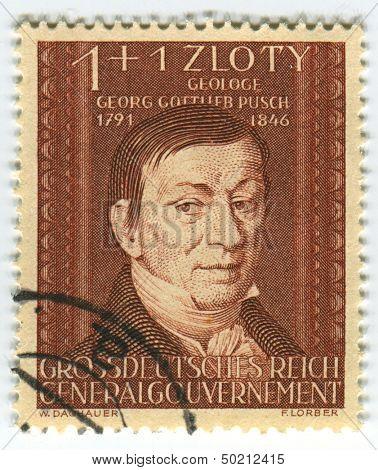 DEUTSCHES REICH  - CIRCA 1944: A stamp printed in Deutsches Reich shows image of the Georg Gottlieb Pusch was also under the name Jerzy Bogumil Pusz known as a geologist in Poland, circa 1944.