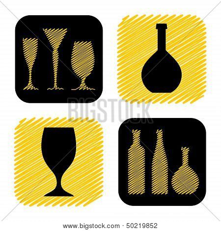hand drawn wine glass and bottle icon collection