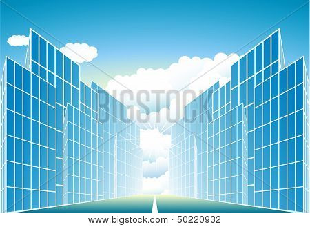 modern urban landscape with sun and cloud