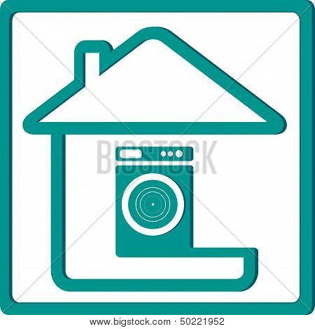 washing mashine and house silhouette