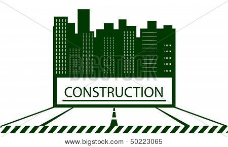 construction symbol with skyscraper