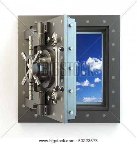 Freedom. Opening vault door and sky behind it. 3d