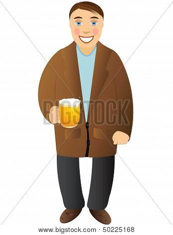 cheerful man with beer mug