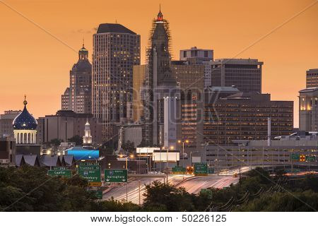 Skyline of downtown Hartford, Connecticut.