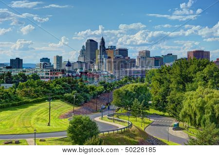 Skyline of downtown Hartford, Connecticut from above Charter Oak Landing.