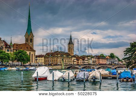 Fraumuenster Cathedral and St.Peter Church in Zurich