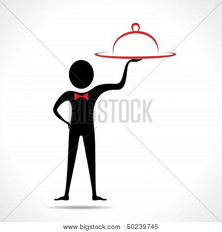 man with platter stock vector