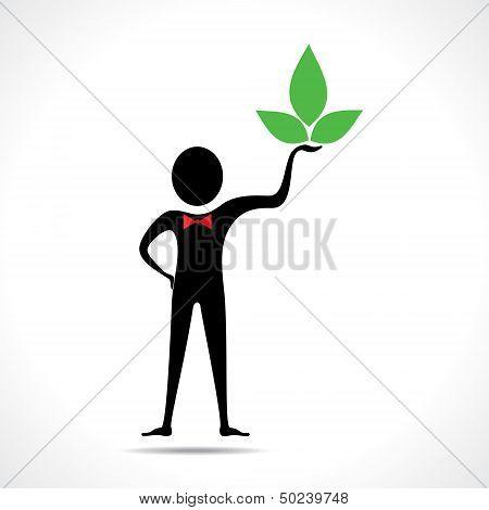 Man holding a leaf icon