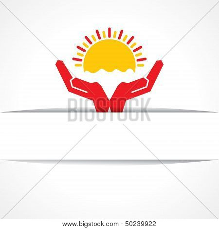Hand protecting sun icon vintage vector