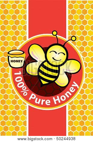 Pure Honey and Bee illustration style design poster