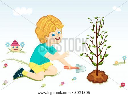 Save Our Green Planet - Boy Planting Tree