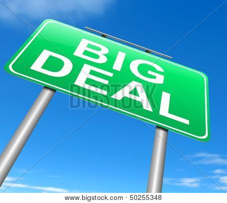 Illustration depicting a sign with a big deal concept. poster