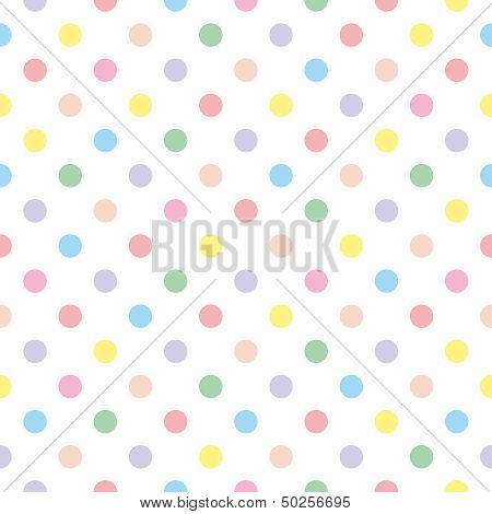 Seamless vector sweet pattern or texture with colorful pastel polka dots on white background for kid