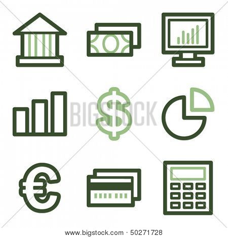 Finance icons set 1, green line contour series