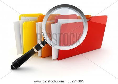 3d colorful folders, on white background