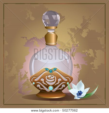 Perfume bottle and lily
