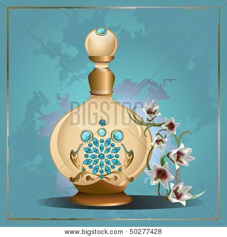 Perfume bottle and lilies