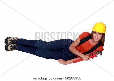 Craftswoman in a strange position