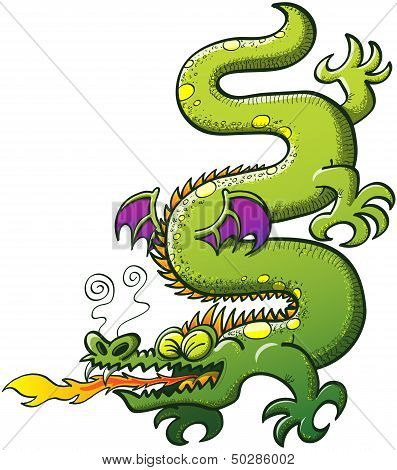 Green dragon breathing fire