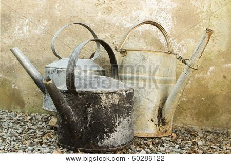 Old Galvanised Kettles And Watering Can