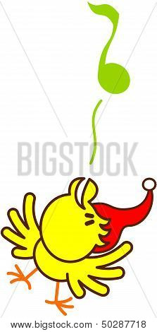 Cute yellow bird cheeping enthusiastically to celebrate Christmas