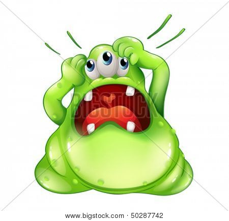 Illustration of a frustrated three-eyed monster on a white background