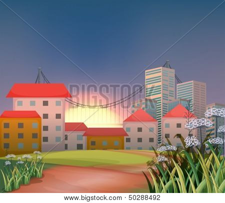 Illustration of the high buildings at the hilltop