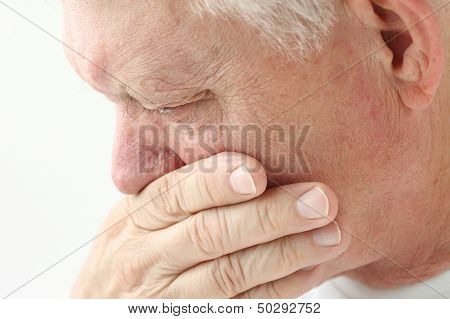 man with nausea close up