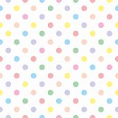 Seamless vector pattern with colorful pastel polka dots on white background for kids background, blog, web design or desktop wallpaper . poster