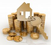 3d house symbol with key on Pile of gold coins. Conception of growth of mortgage credit poster