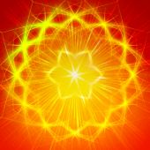 abstract yellow star with shining light rays like mandala form poster