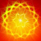 abstract yellow star with shining light rays like mandala form poster
