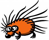 Orange prickly hedgehog with big sad eyes, big black nose and tiny legs while staring at you in a dubious and shy attitude poster