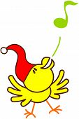 Cute yellow bird with red Christmas hat while extending its wings, raising its head, dancing and blowing animatedly a musical note to celebrate Christmas poster